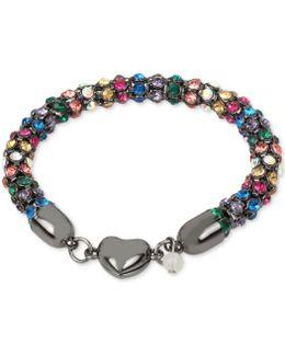 Hematite-tone Multi-crystal Heart Bracelet