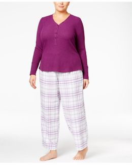 Plus Size Ribbed Henley Pajama Top