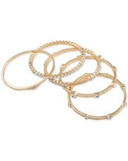 Gold-tone 5-pc. Set Crystal Studded Bangle Bracelets