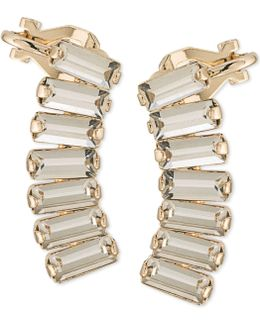 Gold-tone Rectangle Crystal Ear Climbers