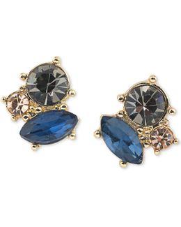 Gold-tone Crystal Cluster Stud Earrings
