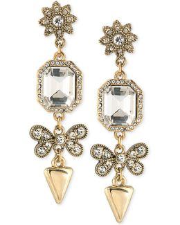 Linear Crystal Drop Earrings
