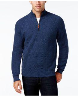 Men's Chevron Tweed Quarter-zip Sweater