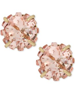 Gold-tone Pink Crystal Glitter Stud Earrings