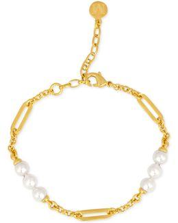 Gold-tone Imitation Pearl Station Bracelet