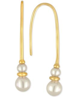 Gold-tone Imitation Pearl Threader Earrings