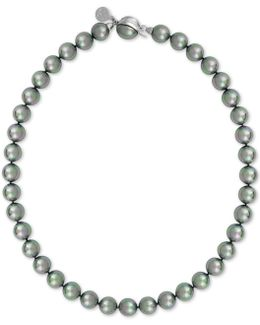 Silver-tone Gray Imitation Pearl Collar Necklace
