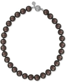 Silver-tone Dark Imitation Pearl Collar Necklace