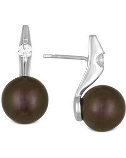Cubic Zirconia And Dark Imitation Pearl Drop Earrings