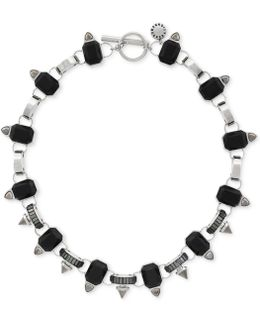 Silver-tone Black Collar Necklace