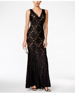 Long V-neck Lace Gown