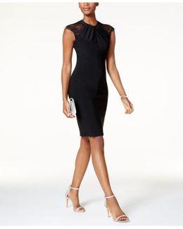 Lace-shoulder Sheath Dress