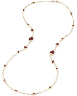 Gold-tone Burgundy Stone And Pavé Long Statement Necklace