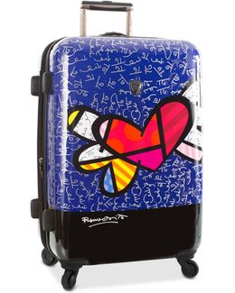 """Britto Heart With Wings 26"""" Expandable Hardside Spinner Suitcase"""
