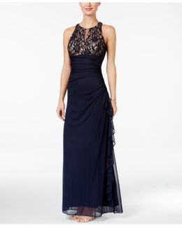 Lace-accent Halter Gown
