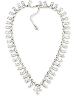 Silver-tone Crystal Collar Necklace