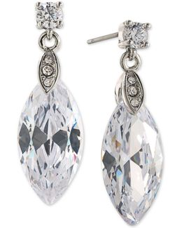 Silver-tone Marquise Crystal Drop Earrings