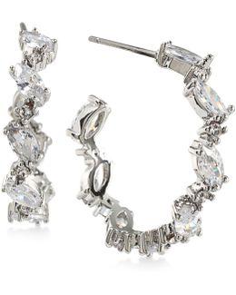 Silver-tone Marquise Crystal Hoop Earrings