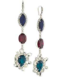 Silver-tone Tri-color Crystal Drop Earrings