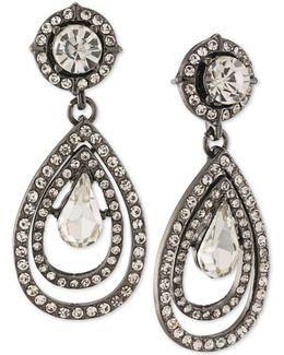 Hematite-tone Crystal Teardrop Earrings