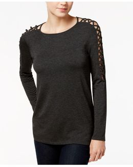 Crew-neck Lace-up-detail Sweater