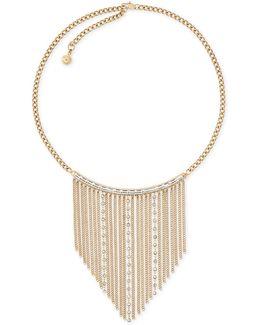 Gold-tone Fringe Statement Necklace