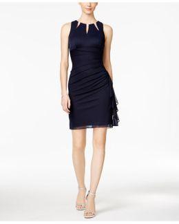 Embellished Ruffled Sheath Dress