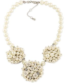 Silver-tone Imitation Pearl And Crystal Cluster Necklace