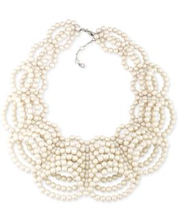 Silver-tone Imitation Pearl Collar Necklace