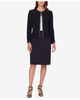Imitation-pearl-trim Flyaway Skirt Suit