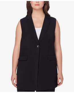 Plus Size Long Blazer Vest