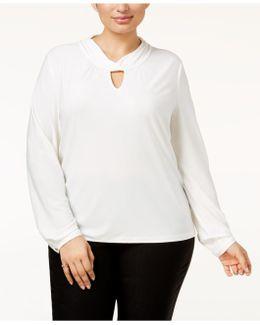 Plus Size Twist-neck Blouse