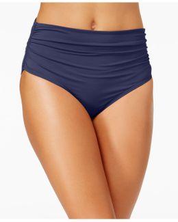Solid Shirred-side Swim Bottoms