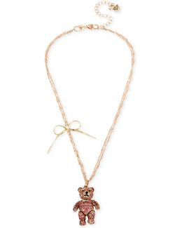 Rose Gold-tone Pavé Bear And Bow Pendant Necklace