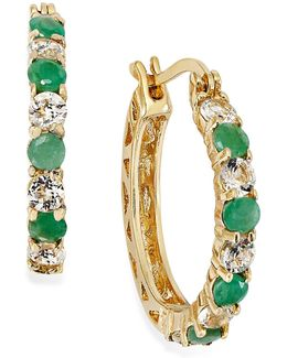 Emerald (7/8 Ct. T.w.) And White Topaz (1-1/10 Ct. T.w.) Hoop Earrings In 18k Gold Over Sterling Silver