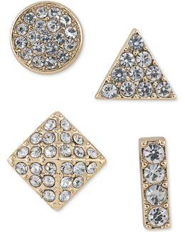 Gold-tone 4-pc. Set Mixed Pavé Stud Earrings