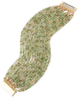 Gold-tone Green & Clear Beaded Stretch Bracelet