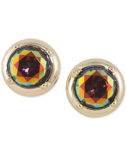 Gold-tone Multicolor Stone Stud Earrings