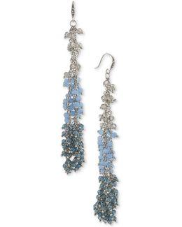 Silver-tone Blue Beaded Dangle Drop Earrings