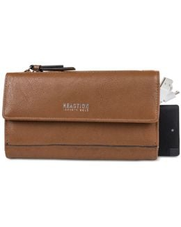 Continental Rfid Clutch Wallet With Portable Phone Charger