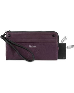 Rfid Zip Clutch With Portable Phone Charger