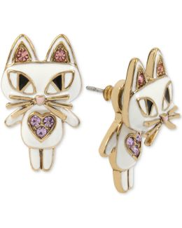 Gold-tone White Enamel Cat Earring Jackets