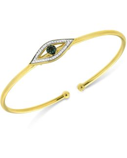 Diamond Evil Eye Flexie Bangle Bracelet (1/6 Ct. T.w.) In 14k Gold-plated Sterling Silver