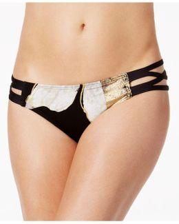 Metallic Strappy Bikini Bottoms