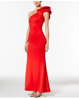 Ruffled One-shoulder Scuba Gown