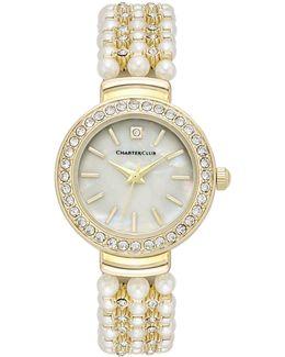 Women's Crystal Gold-tone Imitation Pearl Bracelet Watch 28mm