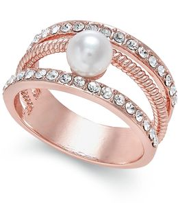 Crystal Imitation Pearl Ring