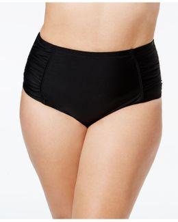 Plus Size Shirred High-waist Bikini Bottoms