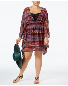 Plus Size Printed Open-back Chiffon Cover-up