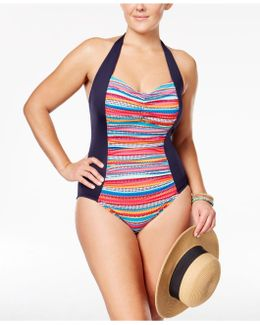 Plus Size Striped Halter One-piece Swimsuit